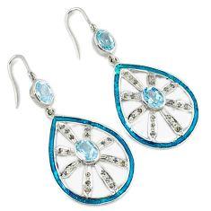 8.18cts vintage natural diamond blue topaz enamel 925 silver earrings v1541