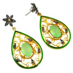 925 silver 12.98cts vintage natural diamond green prehnite gold earrings v1544