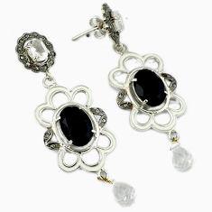 24.70cts estate natural diamond black onyx topaz 925 silver earrings v1546