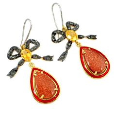 28.59cts vintage diamond brown goldstone 925 silver gold dangle earrings v1547