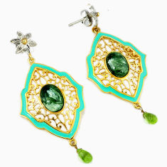 16.02cts vintage diamond seraphinite (russian) 925 silver gold earrings v1549