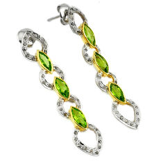 16.61cts victorian diamond green peridot 925 silver gold dangle earrings v1550