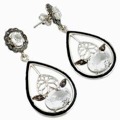 19.04cts vintage natural diamond white topaz enamel 925 silver earrings v1556
