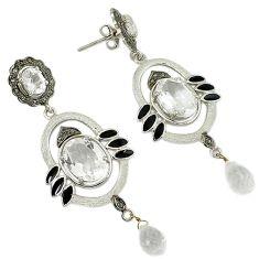 26.03cts estate natural diamond white topaz enamel 925 silver earrings v1558