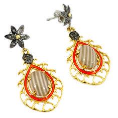 16.47cts estate diamond grey striped flint ohio 925 silver gold earrings v1561