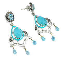 26.31cts vintage diamond blue chalcedony topaz 925 silver dangle earrings v1562