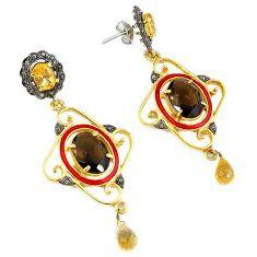 28.04cts victorian diamond snakeskin jasper 925 silver 14k gold earrings v1563