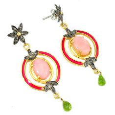 17.71cts victorian diamond pink opal enamel 925 silver 14k gold earrings v1564