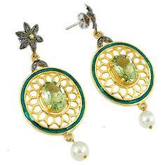 925 silver 25.58cts vintage natural diamond amethyst enamel gold earrings v1565