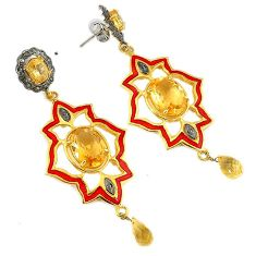 26.20cts vintage natural diamond citrine enamel 925 silver gold earrings v1566