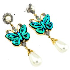 129.50cts estate diamond dichroic glass 925 silver gold butterfly earrings v1568