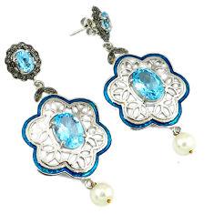 24.86cts vintage natural diamond blue topaz enamel 925 silver earrings v1573