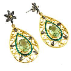14.34cts victorian diamond green amethyst enamel 925 silver gold earrings v1574