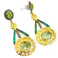 22.96cts vintage diamond green amethyst enamel 925 silver gold earrings v1575