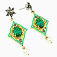 21.16cts estate diamond malachite (pilot's stone) 925 silver gold earrings v1576