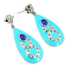 925 silver 4.41cts vintage diamond blue tanzanite enamel dangle earrings v1577