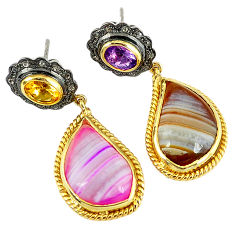 25.86cts vintage natural diamond botswana agate 925 silver gold earrings v1580