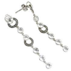 12.31cts victorian natural diamond white topaz 925 silver dangle earrings v1584