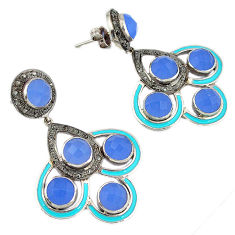 31.55cts vintage diamond blue chalcedony enamel 925 silver dangle earrings v1586