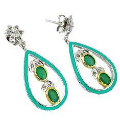6.51cts vintage diamond green emerald enamel 925 silver 14k gold earrings v1722