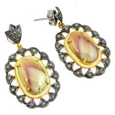 31.46cts vintage diamond brown imperial jasper 925 silver gold earrings v1726