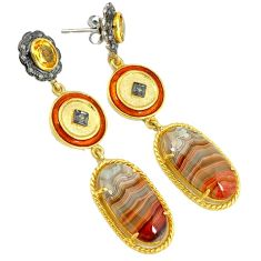 39.67cts estate diamond mexican laguna lace agate 925 silver gold earrings v1727