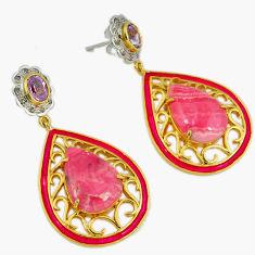 33.64cts victorian diamond rhodochrosite inca rose 925 silver earrings v1728