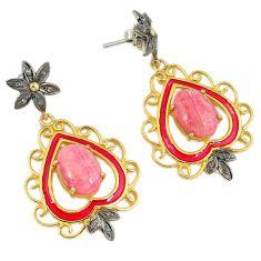 14.10cts vintage diamond rhodochrosite inca rose 925 silver earrings v1729