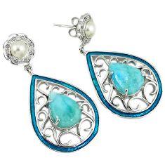 25.48cts estate natural diamond larimar pearl enamel 925 silver earrings v1731