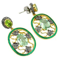 16.62cts handmade natural diamond green amethyst 925 silver gold earrings v1733
