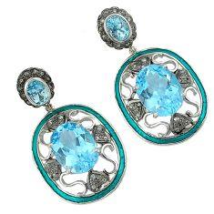 26.24cts vintage natural diamond blue topaz enamel 925 silver earrings v1735