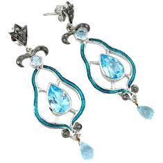 23.43cts vintage natural diamond blue topaz enamel 925 silver earrings v1737