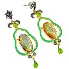 30.41cts vintage diamond brown imperial jasper 925 silver gold earrings v1738