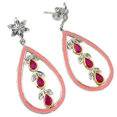 6.35cts vintage natural diamond red ruby enamel 925 silver gold earrings v1739