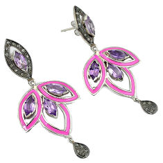 925 silver 23.62cts estate natural diamond purple amethyst enamel earrings v1740