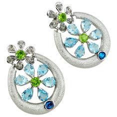 925 silver 27.92cts vintage diamond blue topaz peridot enamel earrings v1749