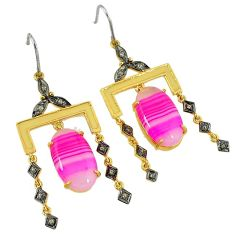 27.91cts vintage diamond pink botswana agate 925 silver 14k gold earrings v1751