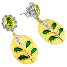 3.97cts estate diamond green peridot enamel 925 silver 14k gold earrings v1752