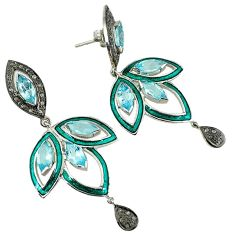 21.03cts estate natural diamond blue topaz enamel 925 silver earrings v1753