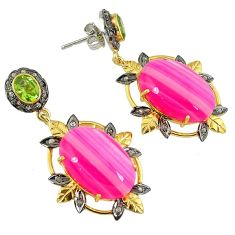 36.85cts vintage diamond pink botswana agate 925 silver 14k gold earrings v1754