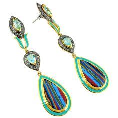 925 silver 39.50cts estate diamond rainbow calsilica 14k gold earrings v1755