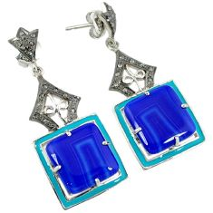 30.83cts vintage diamond blue botswana agate enamel 925 silver earrings v1757