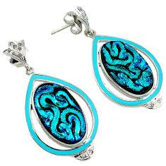 31.86cts vintage diamond dichroic glass enamel 925 silver earrings jewelry v1758