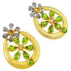 925 silver 28.16cts victorian white diamond green peridot gold earrings v1760