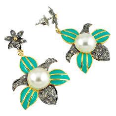 15.74cts vintage diamond white pearl enamel 925 silver 14k gold earrings v1764