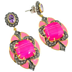 34.82cts vintage diamond pink botswana agate amethyst 925 silver earrings v1766