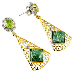 Vintage diamond green seraphinite (russian) 925 silver 14k gold earrings v1767