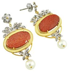 33.70cts vintage diamond brown goldstone 925 silver 14k gold earrings v1768