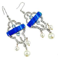 32.44cts vintage natural diamond blue botswana agate 925 silver earrings v1770