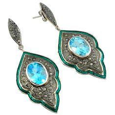 925 silver 20.33cts vintage natural diamond blue topaz enamel earrings v1771